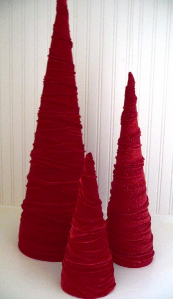 Velvet Cone Christmas trees