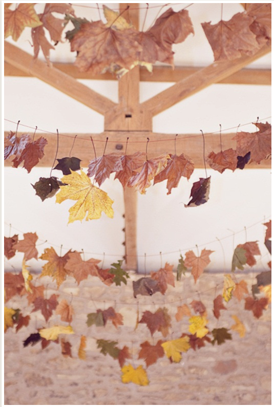 leaf bunting for a rustic wedding