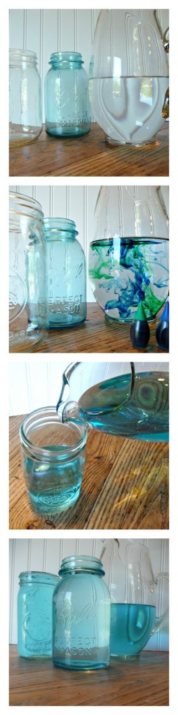 Fastest way to make clear canning jars a turquoise color