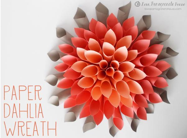 diy Paper Flower wreath:: Dahlia