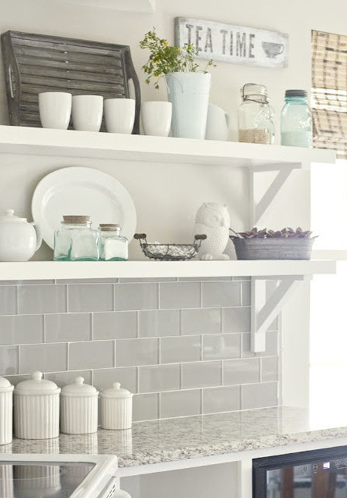 Cute open shelves in the kitchen :: can you spot an owl?