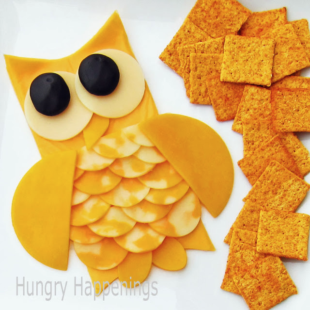 cute owl made from cheese:: fun way to serve food