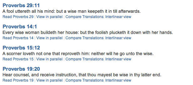 Sunday scripture verses on Wisdom