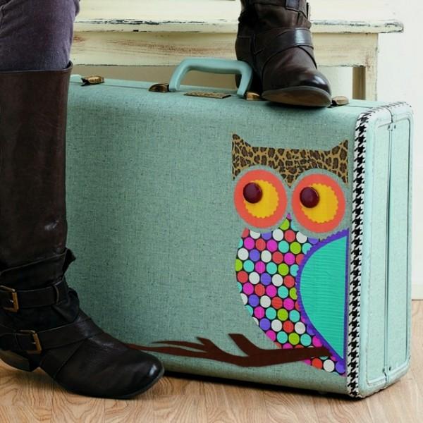 DIY vintage owl suitcase