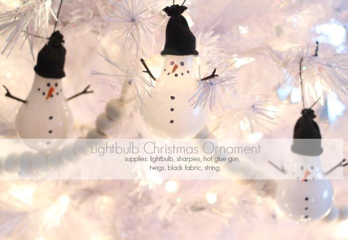 Light bulb Snowman Christmas Ornament